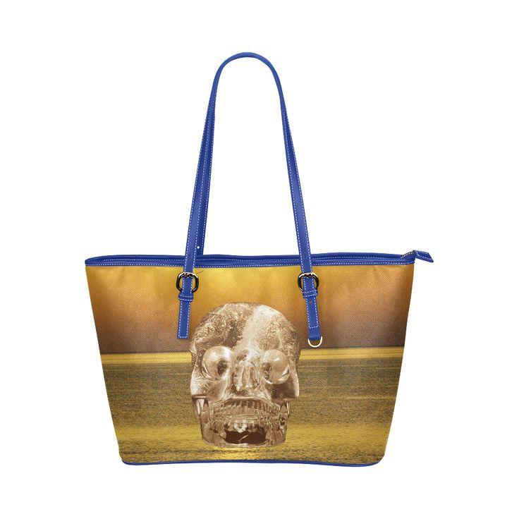 Crystal Skull Gold Leather Tote Bag/Large (Model 1651)