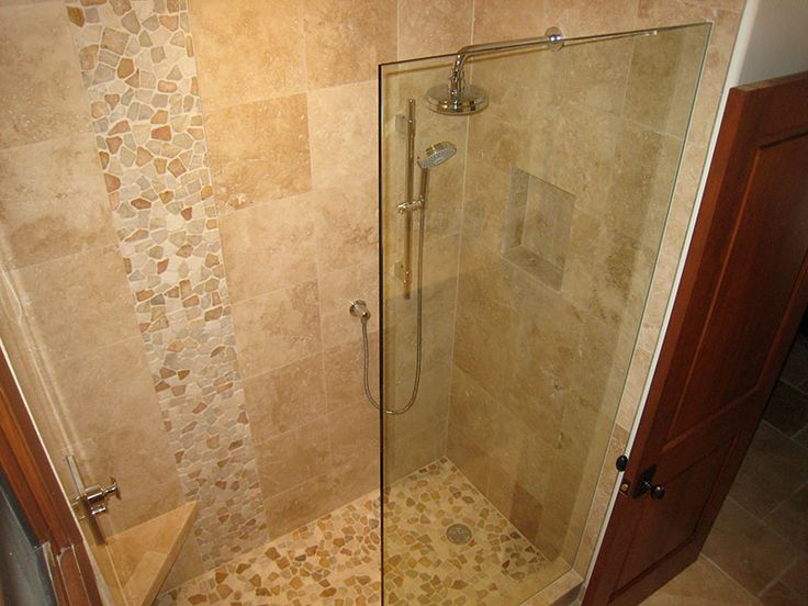 40 best images about bathroom on pinterest pebble floor shower tiles and travertine shower for Travertine tile bathroom ideas
