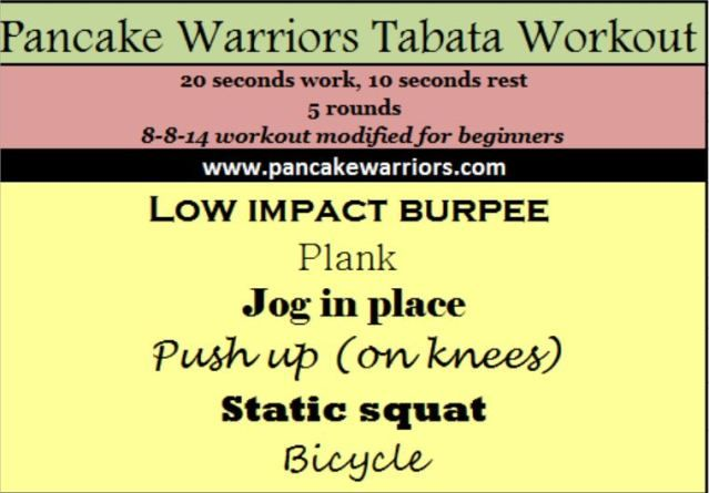Beginner Tabatas routine!  Interval training burns killer calories in short periods and is so much fun!
