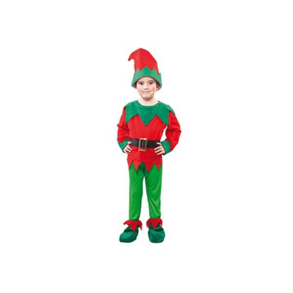 Kerst elf kostuum peuters. Voordelig kostuum van een kerst elf voor een peuter in de leeftijd van 2 tot 4 jaar. Het kostuum is inclusief shirt met vastzittende riem, broek, schoenhoezen en muts. De totale lengte van het kostuum is ongeveer 92-104 cm.