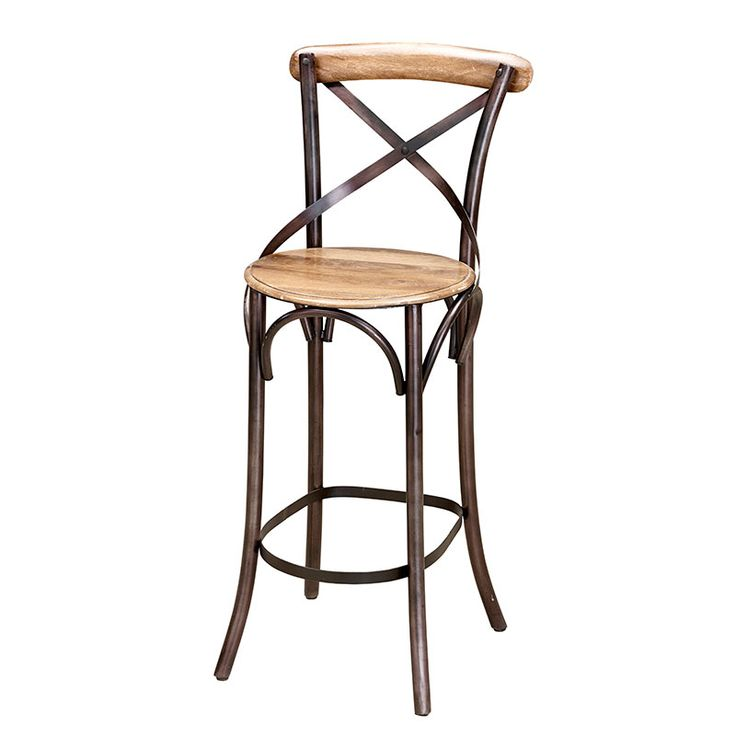 A Classic Metal And Wooden Bar Stool, With A Curved Metal