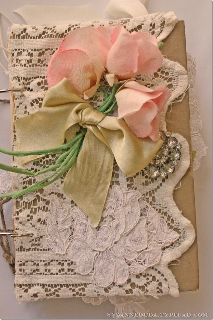 stunning journal by suzanne dudaVintage Flower, Wedding Cards, Journals Covers, Vintage Book, Vintage Lace, Shabby Chic, Pink Rose, Vintage Journals, Lace Flower