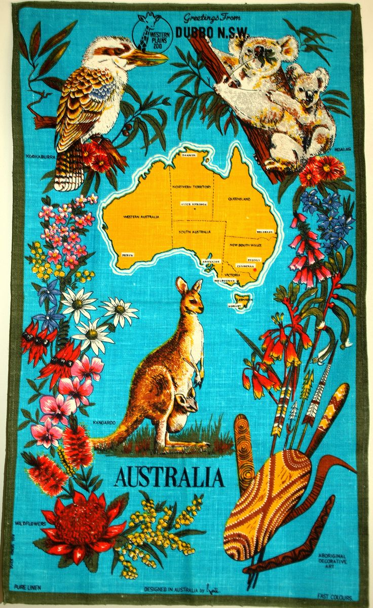 Australian Animals & Wildflowers Souvenir Tea Towel - Vintage Polish Linen Turquoise Tourist Koala Kangaroo - New Old Stock by FunkyKoala on Etsy