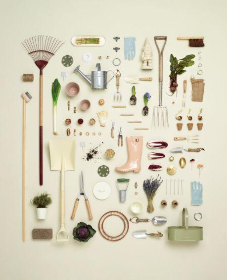 Knolling de herramientas de #jardineria y #huerto