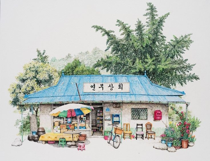 me kyeoung lee south korean convenience store drawings south korea acrylic ink delicate charming