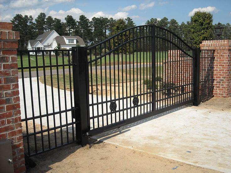 Residential gates in Raleigh - custom ornamental wrought iron & aluminum gates for driveways & walkways - Durham welding, repair, design, fabrication of aluminum & iron beds, balconies, decks, lawn, garden, spiral stairs, gates, fences, railings.