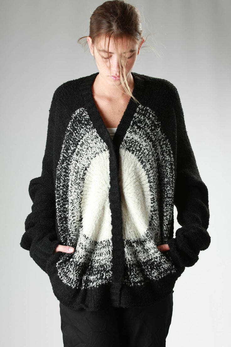 Anrealage | long circular cardigan in bouclé knitted wool, alpaca and acrylic with a light circle in weft |