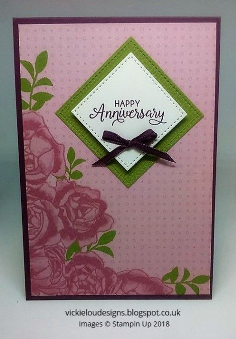 Petal Garden Happy Anniversary Card using Stampin Up Products. #vickieloudesigns #stampinup
