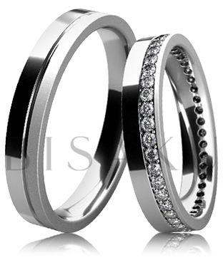 BD6-2 Snubní prsteny z bílého zlata v kombinaci lesklého a saténově matného provedení, kdy dámský prsten je po celém obvodě zdoben kameny. Vzhledem k jemnému a elegantnímu provedení dámského prstenu, lze tento model snadno kombinovat se zásnubním prstenem. #bisaku #wedding #rings #engagement #svatba #snubni #prsteny #design