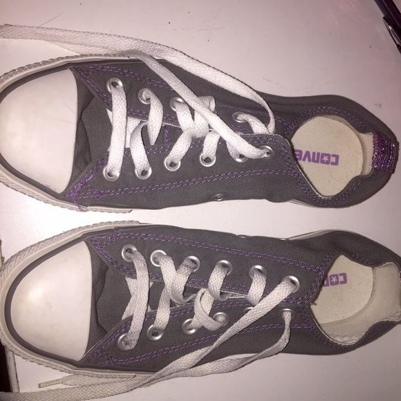 Gray Converse Super adorable converse with purple!  Very rare. Converse Shoes