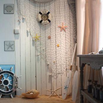 Mediterranean style Fishing Net Decor Cotton Fabric Nautical fish Bar Wall Decor…
