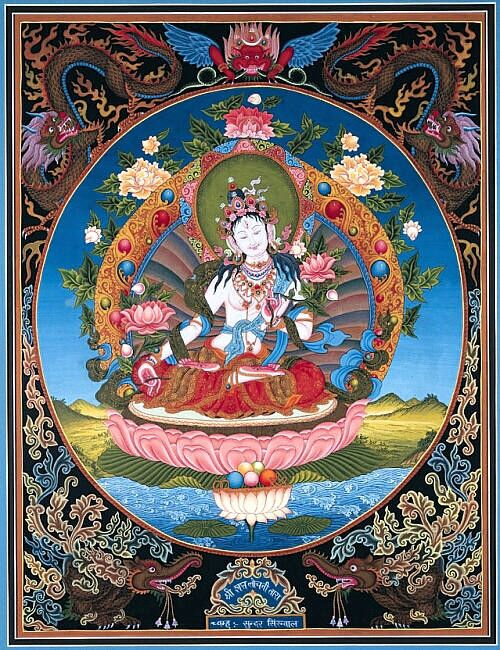 """Drol-Ma.  Nepalese goddess meaning """"deliverer"""".  Her themes are kindness, overcoming, charity, change. She is symbolized by any act of kindness"""