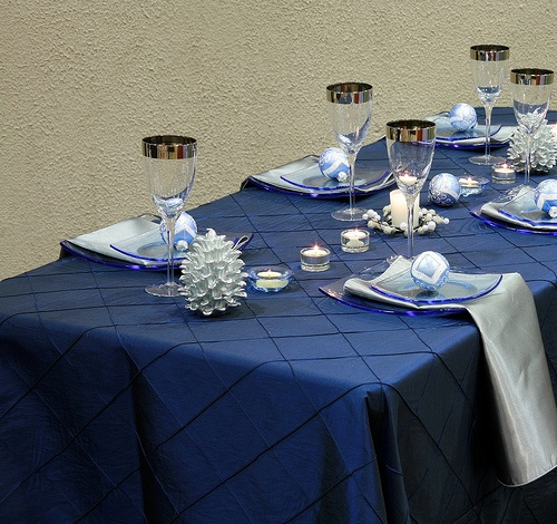 Pintuck Navy Blue Table Linen With Silver Satin Napkins Will Bring Any  Winter Themed Or Holiday