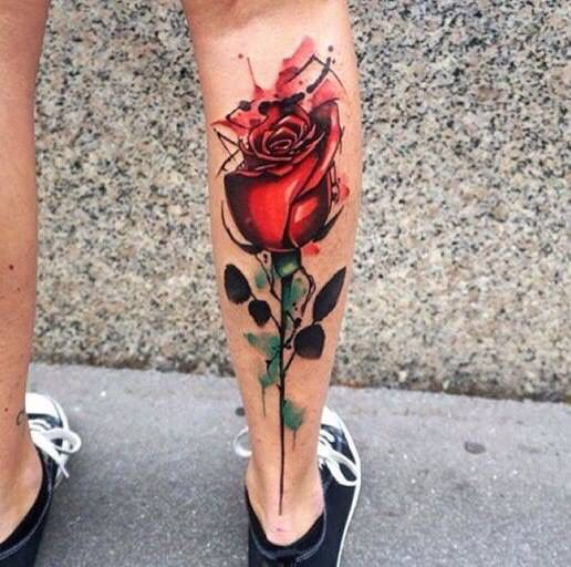 Red watercolor roses tattoo
