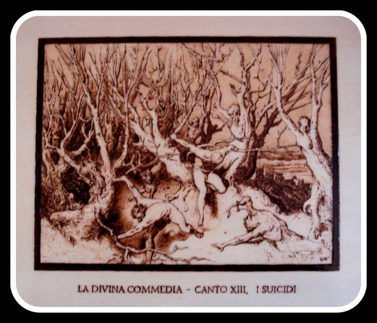 """""""#Suicidi"""", #Illustrazione #Inferno di #Dante di Simone Naldini #artigianato #pirografia http://omaventiquaranta.blogspot.it/2013/11/linferno-dantesco-di-simone-naldini.htm"""