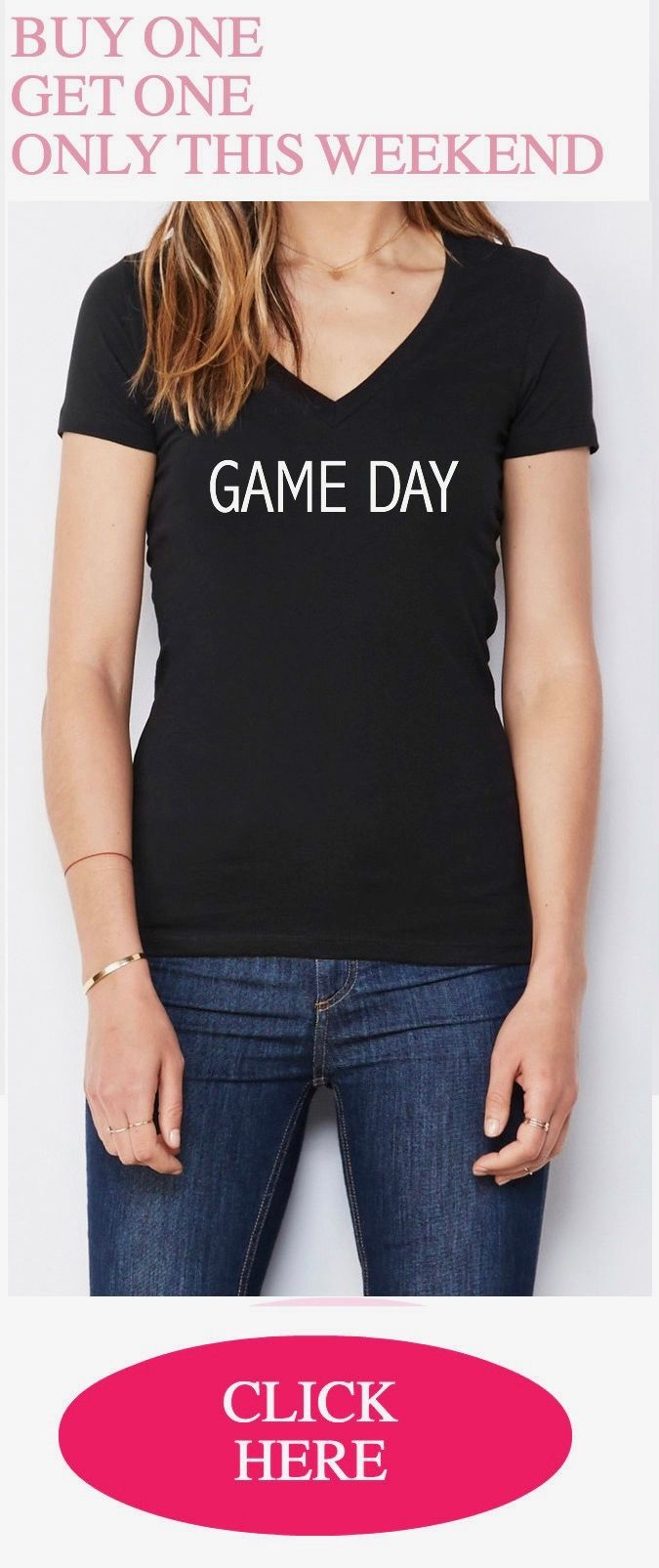 Read instructions on our Etsy page. Buy One Get One Free, Giveaway, Sale, Free Game Day Shirt, Game Day Tshirt,game day muscle tank,game day shirts,football mom shirt,baseball mom shirt,sunday funday shirt,game day tank  This Leah Dara top is printed with an eco-friendly ink and is handmade with love in California.   *Description*  Her go-to tee fits like a well-loved favorite, featuring a modern feminine fit, classic V-neck, short sleeves and superior combed and ring-spun cotton.