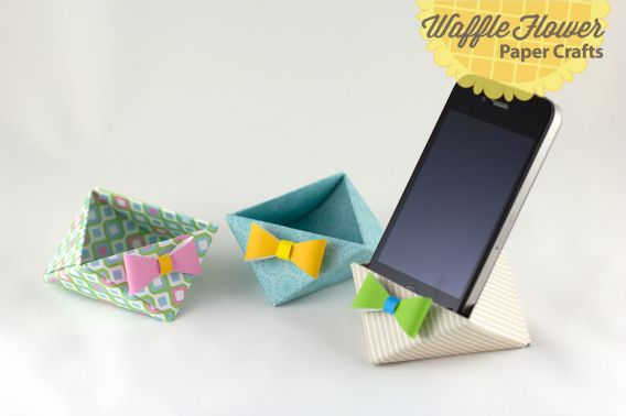 iPhone paper triangle stand. This would be great for my desk at work!
