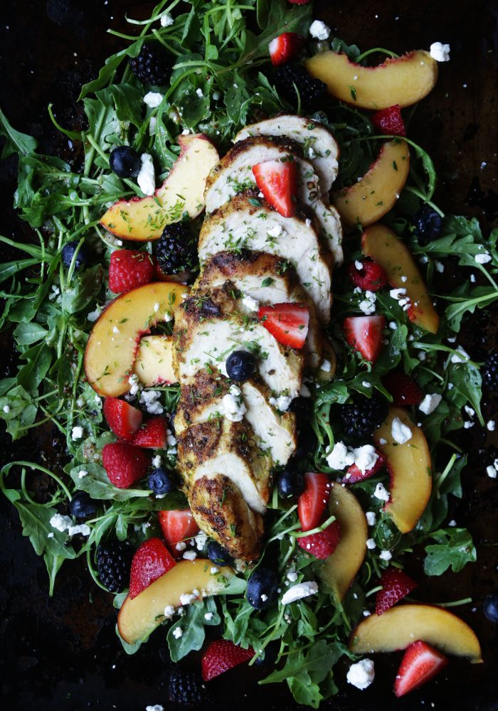 Berry Summer Salad Recipe with Curry Chicken, Lemon-Ginger White Balsamic Vinaigrette and Fresh Herbs