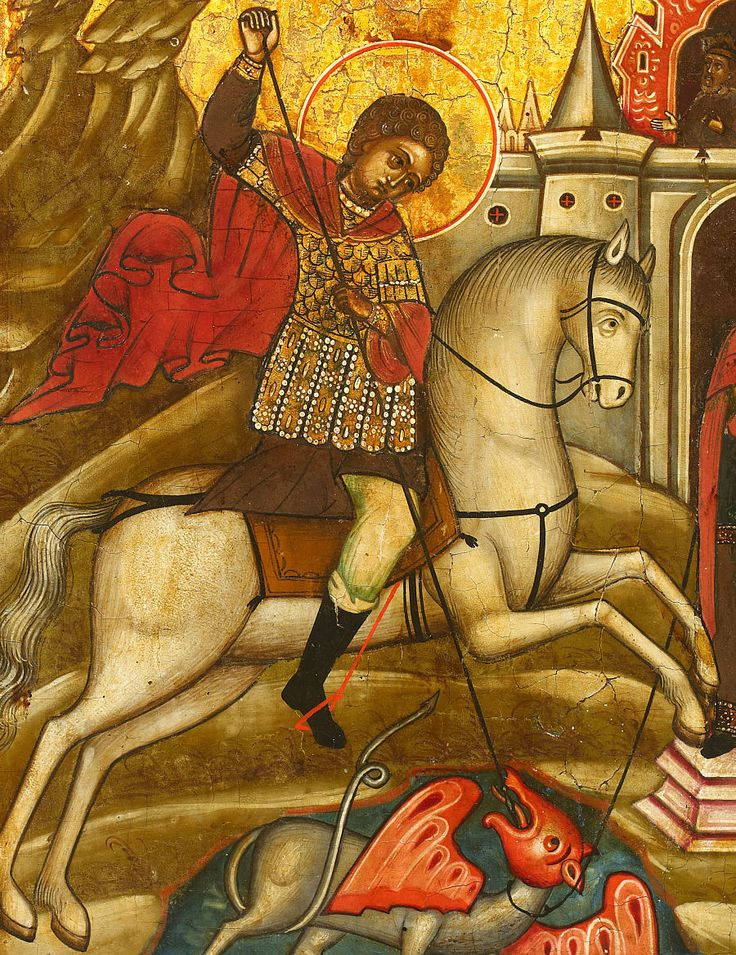 Saint George and the Dragon 19th century Russian icon