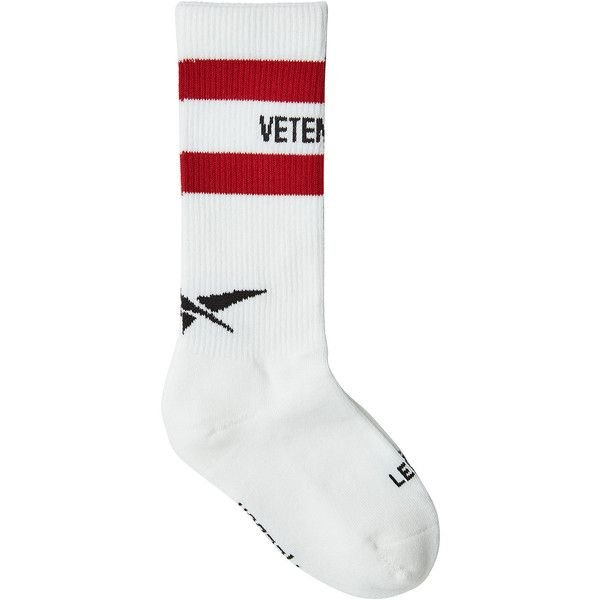 Vetements X Reebok Printed Socks ($100) ❤ liked on Polyvore featuring intimates, hosiery, socks, white, sports socks, cotton sport socks, striped sports socks, striped cotton socks and striped socks