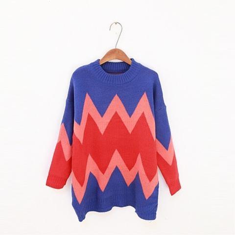 Vintage Wave Pattern Loose Sweater