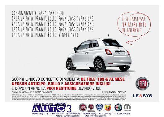 #Fiat 500 #befree a 199,00 € al mese, nessun anticipo, bollo e assicurazione inclusi, e dopo un anno la puoi restituire quando vuoi.  Anche Sabato e Domenica.  www.nuovaauto3.it