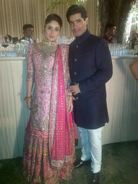 Kareena Kapoor poses with the designer of her reception sharara. #ManishMalhotra
