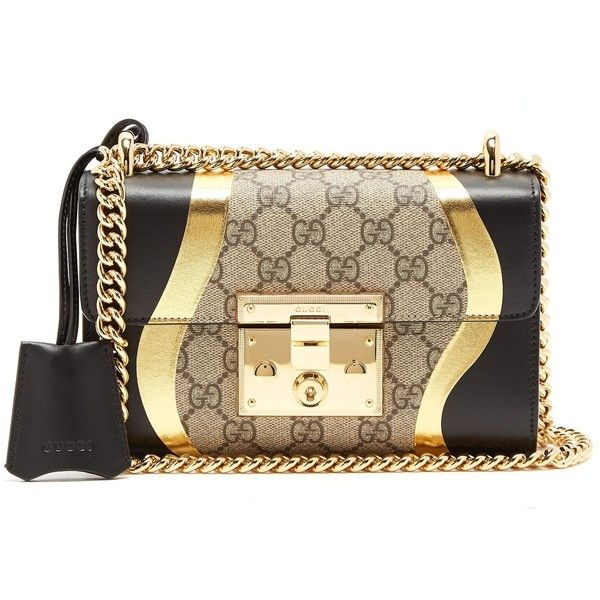 Gucci Padlock GG Supreme small cross-body bag (7.365 RON) ❤ liked on Polyvore featuring bags, handbags, shoulder bags, crossbody shoulder bag, leather crossbody purse, brown leather handbags, gucci crossbody and brown shoulder bag