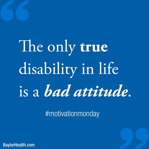 """The only true disability in life is a bad attitude."" -Scott Hamilton  ‪#‎motivationmonday‬ ‪#‎quotes‬ #inspiration"