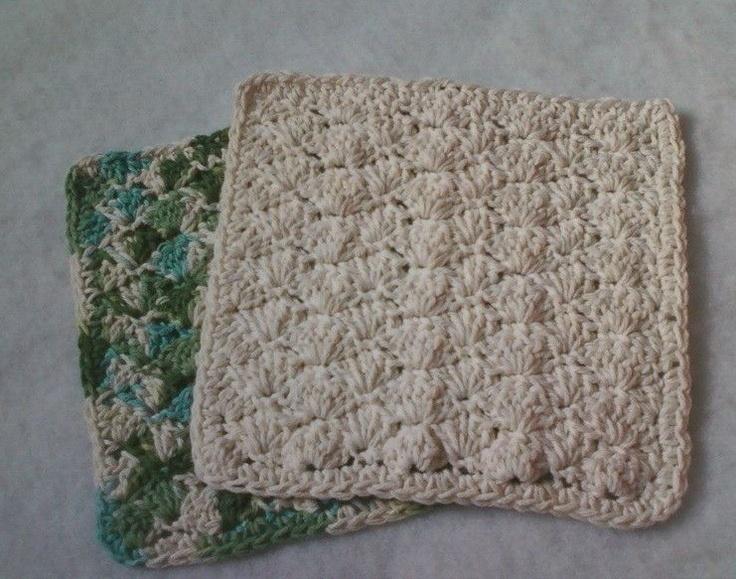 Simple shell dishcloth pattern to crochet (Photos)