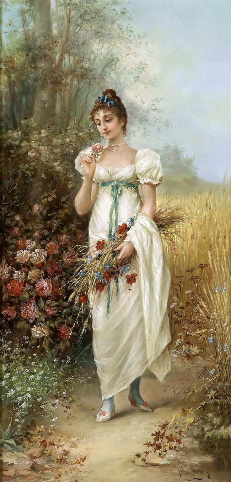 Hans Zatzka - Girl with Meadow Flowers and Roses
