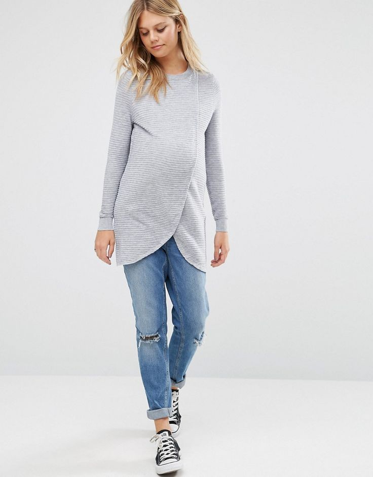 Image 4 - ASOS Maternity NURSING Wrap Over Jumper in Textured Stripe
