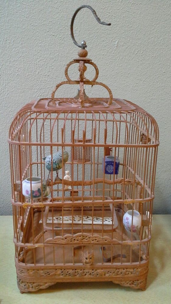 Vtg Chinese Asian Bamboo Bird Cage With Porcelain Feeders
