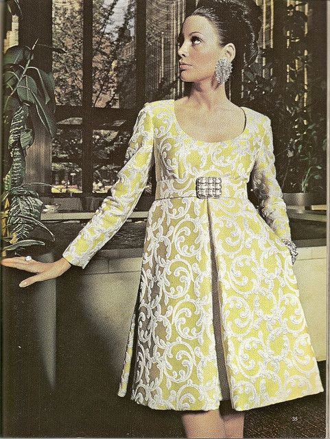 Empire Line Cocktail Dress By Oscar de la Renta Vogue Spring 1970 Gold and silver brocade