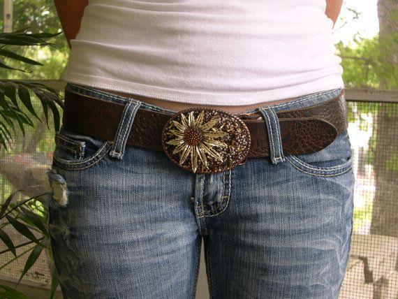 Vintage Sarah Coventry Gold Flower Belt Buckle by WaistedArt, $75.00: Gold Flowers, Flowers Belts, Flower Belt
