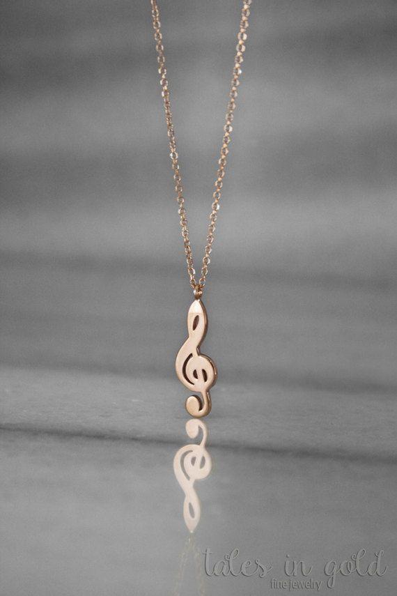 Treble Clef Necklace, Gold Necklace, Treble Clef Charm, 14 Karat Gold, Minimal Jewelry, Gold Treble Clef, Music Necklace, Rose Gold Charm