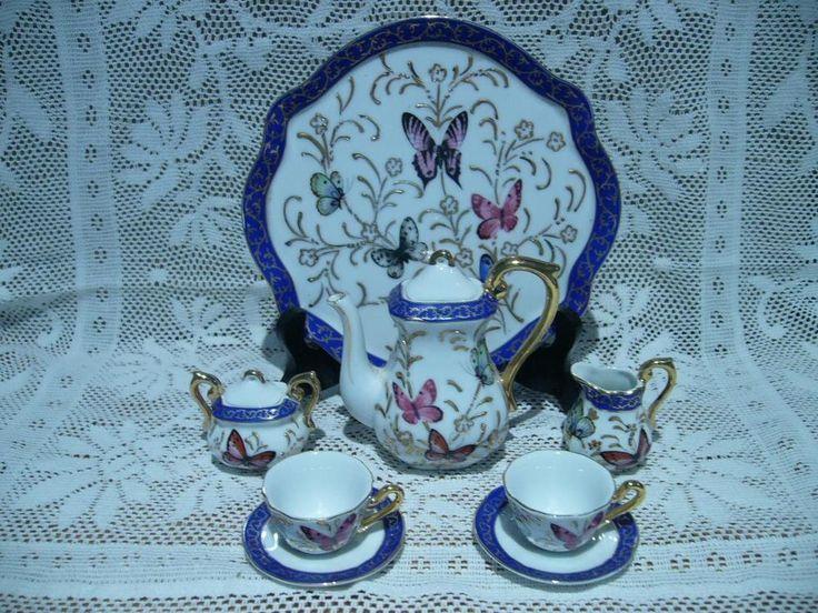 MINIATURE GILT TEA / COFFEE SET ON TRAY - BUTTERFLIES - VERY GOOD CONDITION