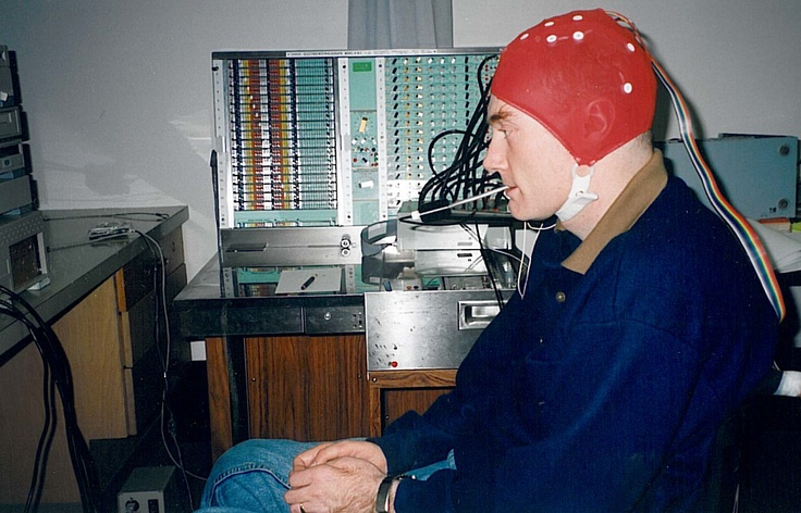 Gary Birch with the Brain Computer Interface cap on.  www.neilsquire.ca