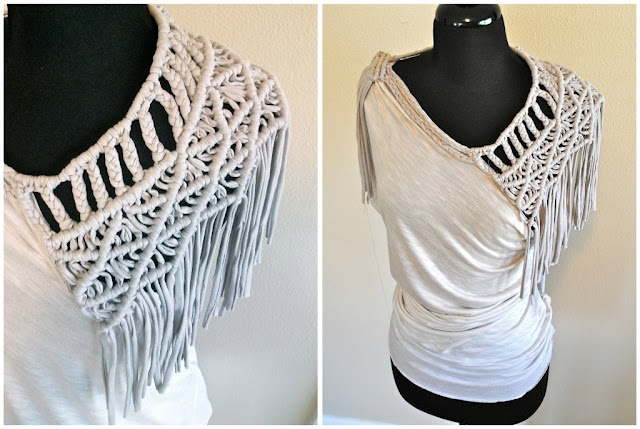 made from tshirt yarn. macrame weaving
