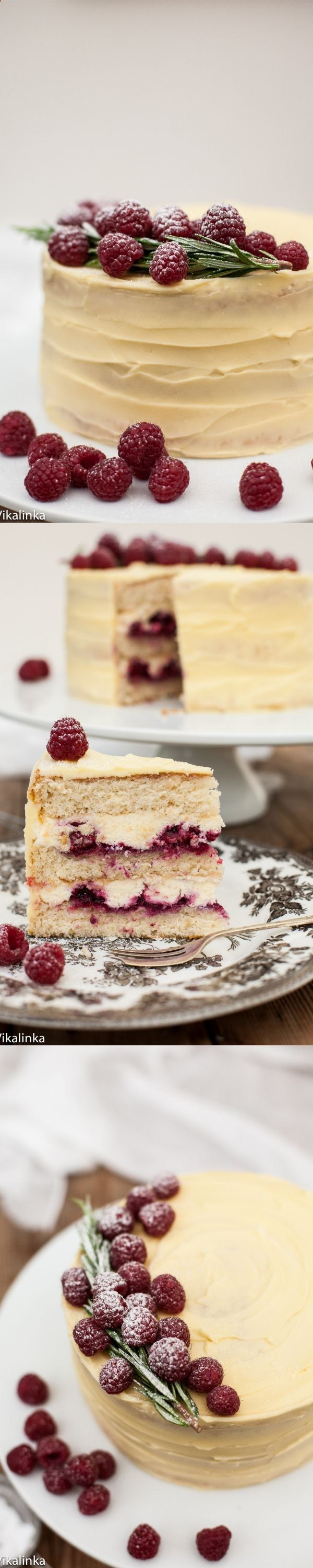 Delicate vanilla cake layers filled with mascarpone cream and raspberry compote and covered with white chocolate buttercream.