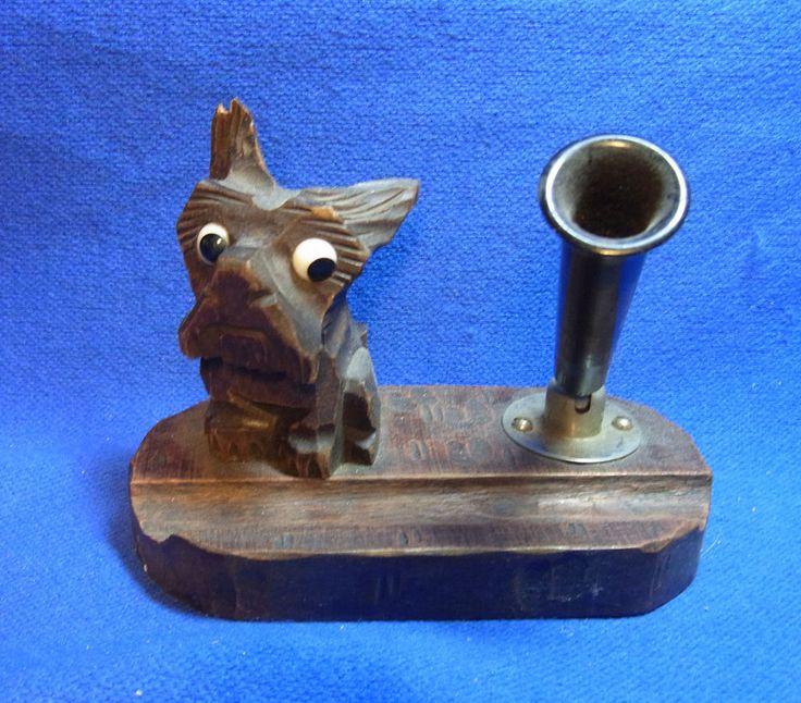Vintage German Wood Carved Desktop Decoration Pen Holder Dog Figure #BL