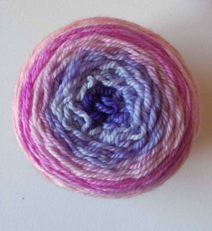 DK Bliss Hand-dyed Colour Transitions 100g 8 ply Wool Yarn Pink Roses to Violets by HeatherMaid on Etsy