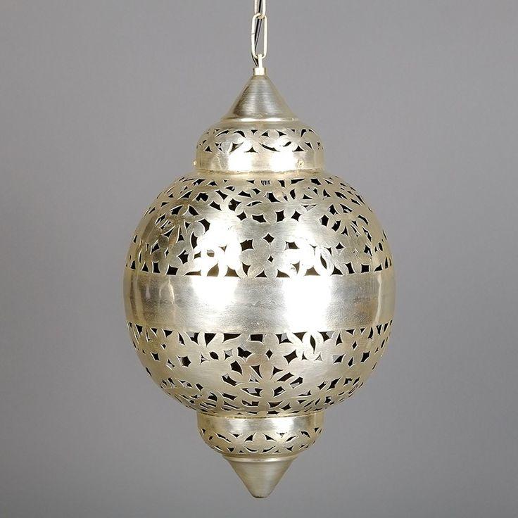 Mosiężna lampa wisząca srebrna z ażurowym wzorem