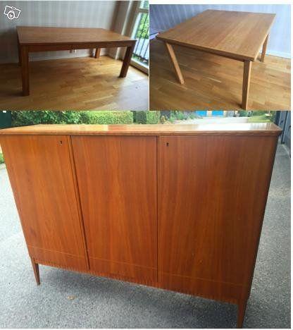 1. Soffbord i ek med inbyggd låda: 129x70x52 cm, 800kr 2. Kvadratiskt bord…