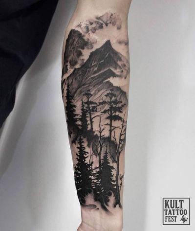 Black Ink Forest Scenery Tattoo | Tats | Tattoos, Sleeve tattoos, Tattoo sleeve designs