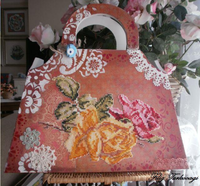 Scrapbook paper, stencil, lace and cross stitch, wooden bag