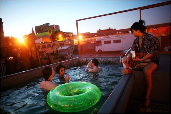 Dumpster pools: Converting Dumpsters into swimming pools, on the banks of the Gowanus Canal in Brooklyn.