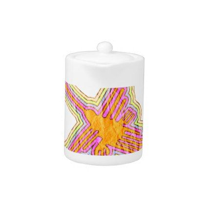 Nazca Lines Hummingbird With Wrinkled Paper Effect Teapot - paper gifts presents gift idea customize
