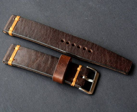 Brown vintage leather watch strap handmade for custom order