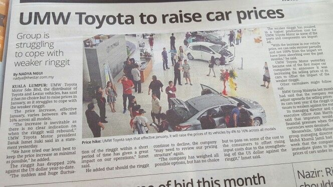 Toyota car prices in Malaysia will be raised, to absorb impact of weak Malaysian Ringgit vs US Dollar.